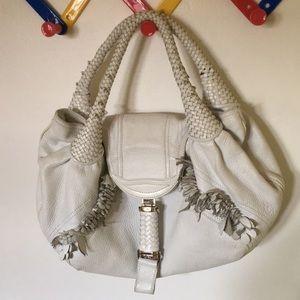 White Fendi spy bag zucca interior